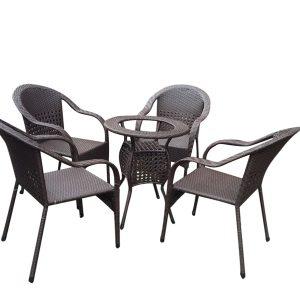 Bộ bàn ghế mây nhựa TT12