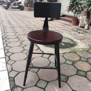 Ghế Cafe chân sắt mặt gỗ