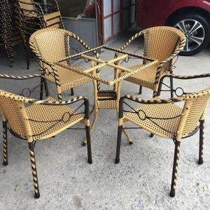 Bộ bàn ghế cafe mây nhựa XK1