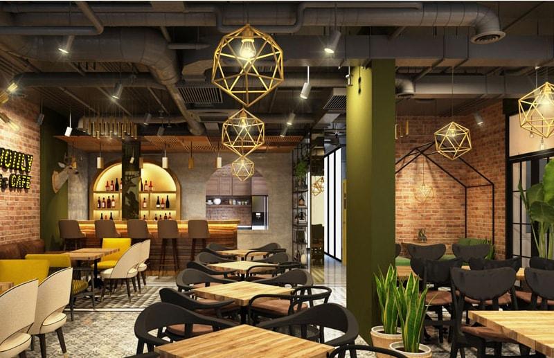 Cách sắp xếp bàn ghế trong quán cafe là màu sắc hài hòa