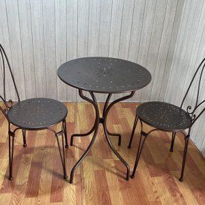 Bộ bàn ghế sắt uốn mặt lỗ tt52