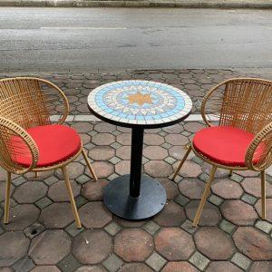 Bộ bàn mặt đá ghế mây nhựa TT101